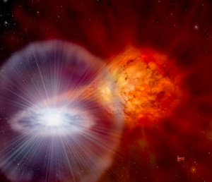 Fig. 1 - Vai al video con l'animazione di un burst X in un sistema binario. - Credit: GSFC/NASA.